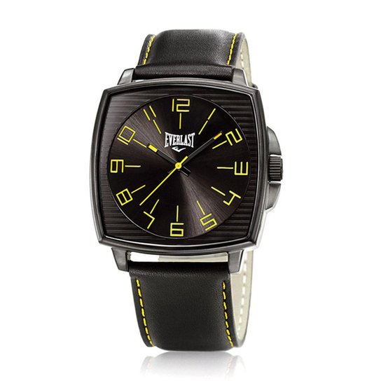d56981a8985 Relógio Pulso Masculino Everlast Analógico Pulseira Couro - Preto+Amarelo