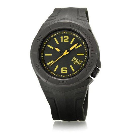 536c420c2a1 Relógio Pulso Everlast Masculino Pulseira Silicone Analógico - Preto+Amarelo