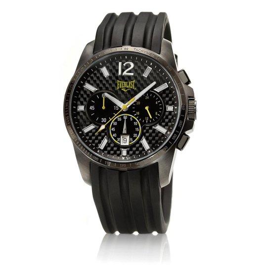 486afbf3d Relógio Masculino Everlast Pulseira Silicone Analógico E217 - Preto+Amarelo