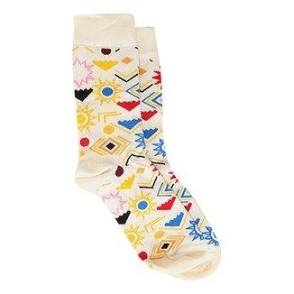 7b15a455a Meia 3 4 Happy Socks Argyle Masculina