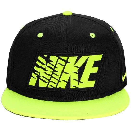 c4b7f299e3f7b Boné Nike Graphic True Infantil - Preto+Verde Limão