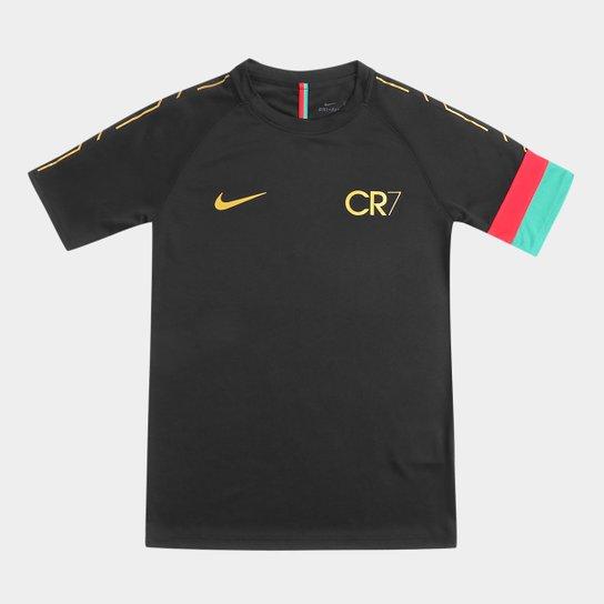 caa79c3f0c86f Camisa Infantil CR7 Nike Dry Academy Top SS Masculina - Preto+Amarelo ...