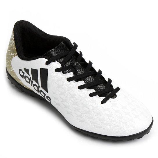 555da4557 Chuteira Society Adidas X 16 4 TF - Branco+dourado