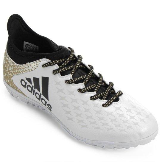 2ead618b0e Chuteira Society Adidas X 16 3 TF Masculina - Branco+dourado