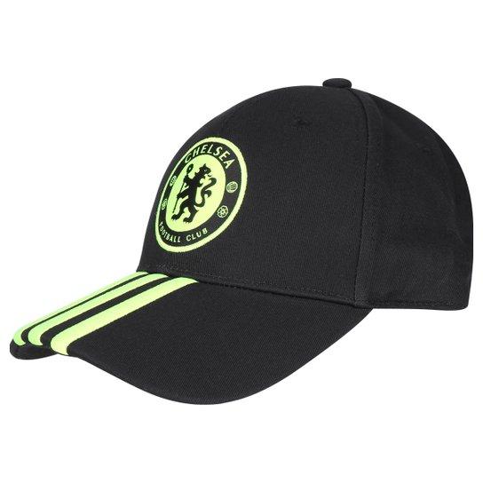 93098e8ac9201 Boné Chelsea Adidas Aba Curva 3S - Preto+Verde Limão