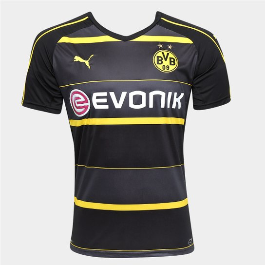 Camisa Borussia Dortmund Away 16 17 s nº Torcedor Puma Masculina - Preto+ 7299a552ca3fd