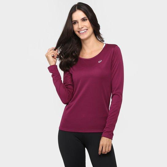 f08c6fc7b Camiseta Asics Favorite 2 Com Proteção UV Manga Longa Feminina - Vinho