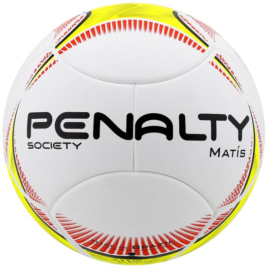 Bola Futebol Penalty Matis 5 Society - Branco+Amarelo df6835ccb59ab