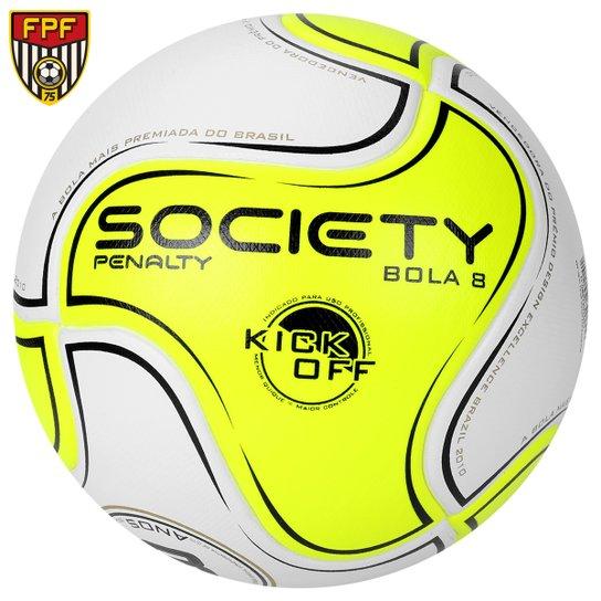 Bola Futebol Penalty 8 S11 R1 Kick Off 6 Society - Amarelo  Fluorescente+Branco e0ad3d39faca3