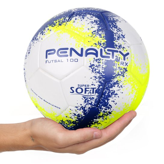 Bola Futsal Penalty RX 100 R3 Fusion VIII - Branco e Amarelo ... d67e6a0947f2f