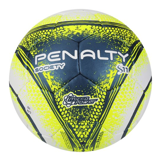 Bola Futebol Society Penalty S11 R4 VIII - Branco+Amarelo 243efe7992e82