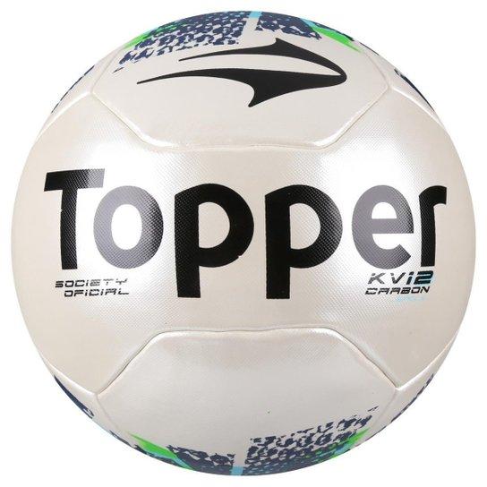 Bola Futebol Society Topper KV Carbon League 2 Oficial - Branco+Amarelo 6331d05ee15ff