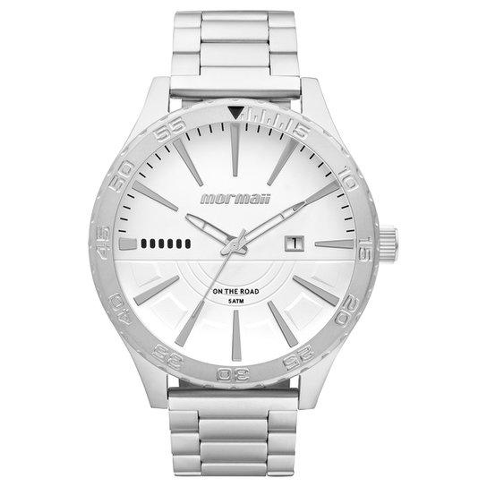 2e1469121b7 Relógio Analógico Mormaii Mo2115Aw-3K Masculino - Prata e Branco ...