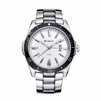 bfd1ef9bfa6 Relógio Curren Analógico 8110 Prata e Branco