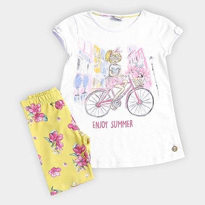 Conjunto Infantil Fakini Estampa Bicicleta Floral Feminino