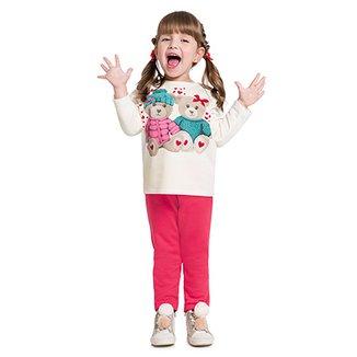 5e9cf7bc9ca93 Conjunto de Moletom Infantil Kyly Ursinhos Feminino