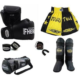 0dc4500ff Kit Muay Thai Trad + Caneleira Free Style Bolsa Shorts- 08 oz PTAM