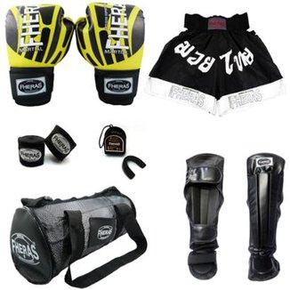 ddb159bd1 Kit Boxe Muay Thai Top Luva Elite Bandagem Bucal Caneleira Shorts Bolsa 08  oz Fheras