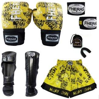 93f5d61ab Kit Muay Thai TOP + Caneleira + Shorts