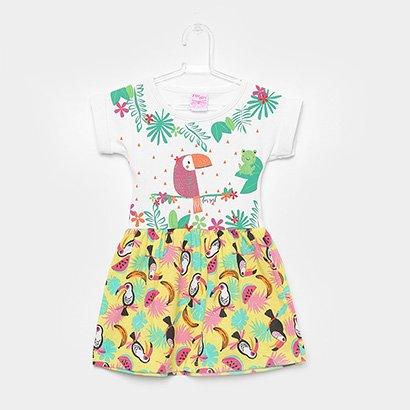 Vestido Infantil For Girl Curto Evasê Estampa Tucano