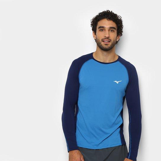 77f1e14416bfd Camiseta Mizuno Run Pro Com Proteção UV Manga Longa Masculina - Azul  Petróleo