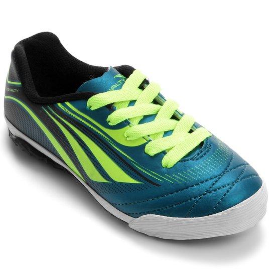 84f678261a Chuteira Penalty ATF Rocket 6 Futsal Infantil - Azul Petróleo+Verde Limão