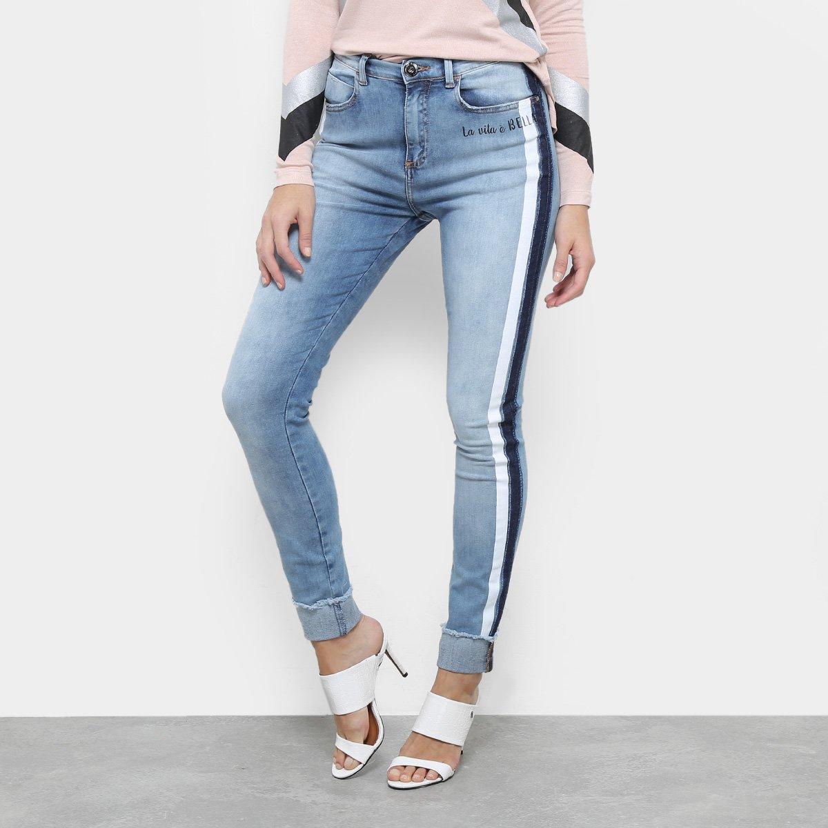 bd01c43ef Calça Jeans Skinny Acostamento Estonada Cintura Média Feminina