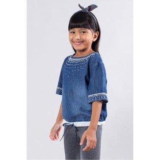 799bde853 Bata Jeans Bordada Reserva Mini Feminina