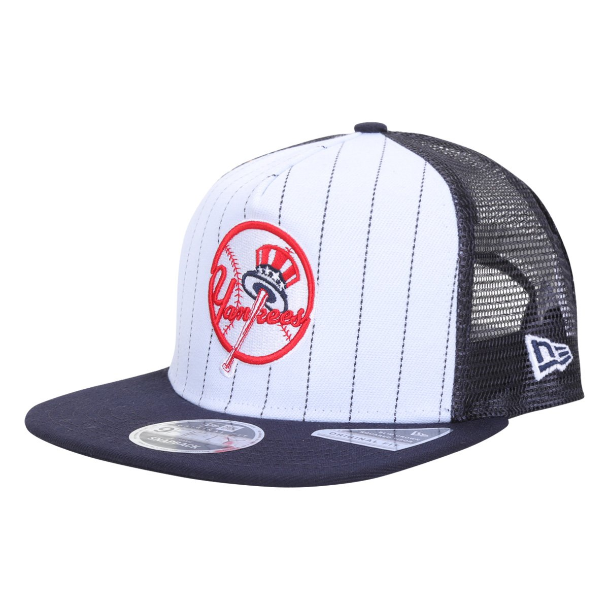 Boné New Era MLB New York Yankees Aba Reta Snapback A-Frame Trucker College Pinstripe 9Fifty