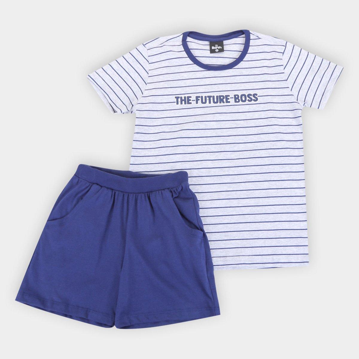 Pijama Curto Infantil Evanilda Future Boss Masculino