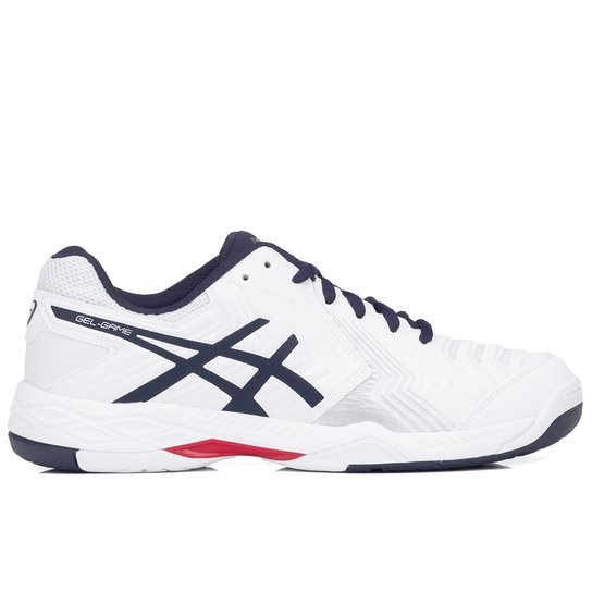 4712cfc5216 Tênis Asics Gel Game 6 - Branco e Marinho - Compre Agora
