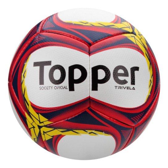 ec84fd84bd587 Bola Futebol Society Topper Trivela V12 - Branco+Vermelho
