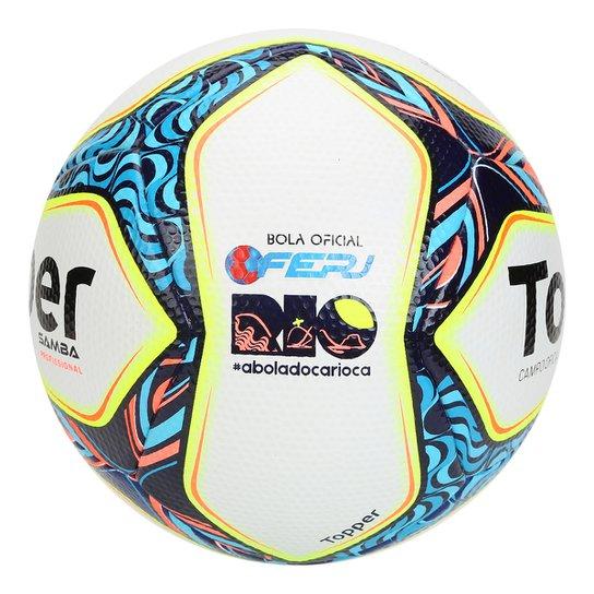 Bola Futebol Campo Topper Samba - Profissional - Branco+Marinho 445bd17673f1f