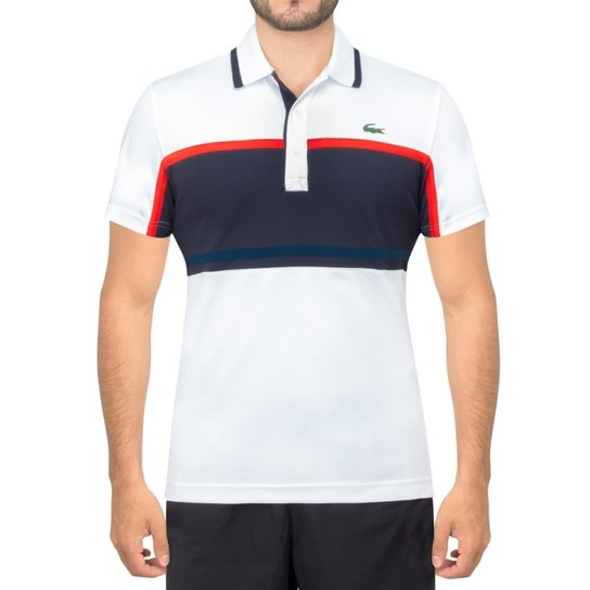 fe2bd5c7681 Camisa Lacoste Polo Fancy Tennis 1 E - Branco e Marinho
