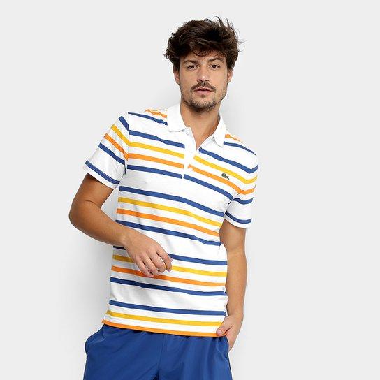 00c7b4b7445 Camisa Polo Lacoste Manga Curta Masculina - Branco e Marinho ...