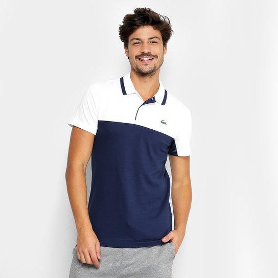 c87ef91326327 Camisa Polo Lacoste Manga Curta Masculina - Branco e Marinho ...