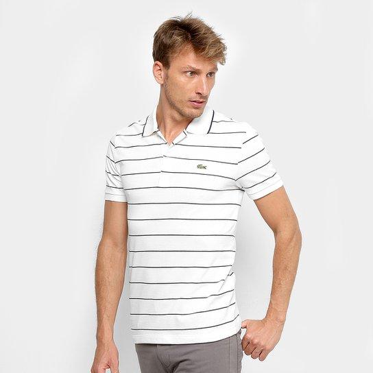 d8e2d1b2c Camisa Polo Lacoste Listrada Slim Masculina - Branco+Marinho