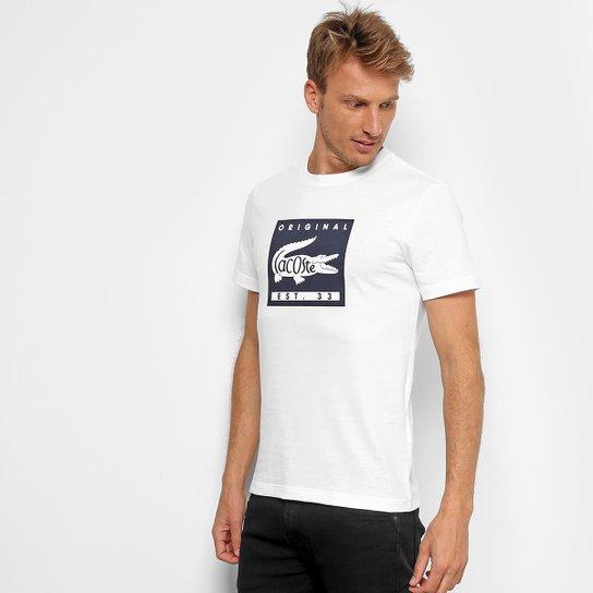 Camiseta Lacoste Estampada Masculina - Branco e Marinho - Compre ... fa4f0c4add