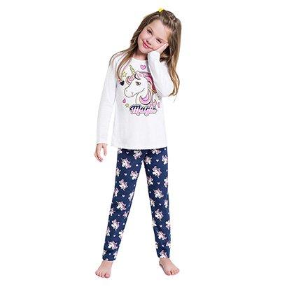 Pijama Manga Longa Infantil Kyly Unicórnio Feminino