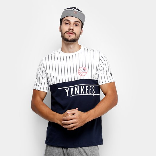 Camiseta MLB New York Yankees New Era 21 Stripe Team Masculina - Branco+ Marinho 1b150d6f986