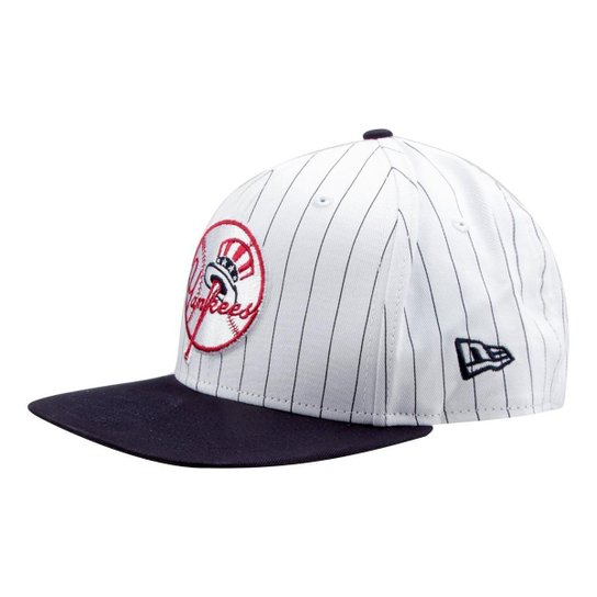 Boné New Era MLB New York Yankees Aba Reta 950 Of Sn Coop Stripe - Branco d11e9e98168