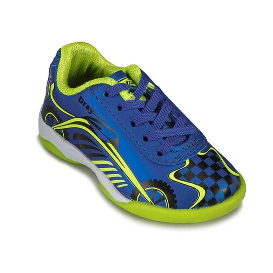 838aae4f62 Chuteira Futsal Infantil Drayzinho Masculino - Azul+Verde Limão