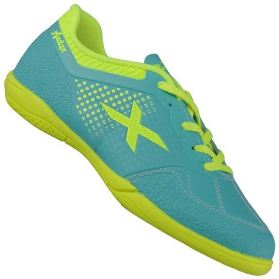 67b237898b Chuteira Oxn Audax Indoor Infantil - Azul e Verde Limão - Compre ...