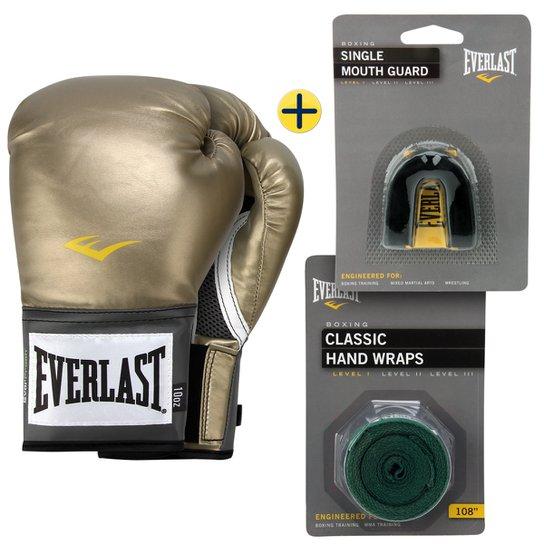 7adf6c61738dc Kit Everlast Bandagem Elástica 3 m + Protetor Bucal + Luva Pro Style 10 Oz -