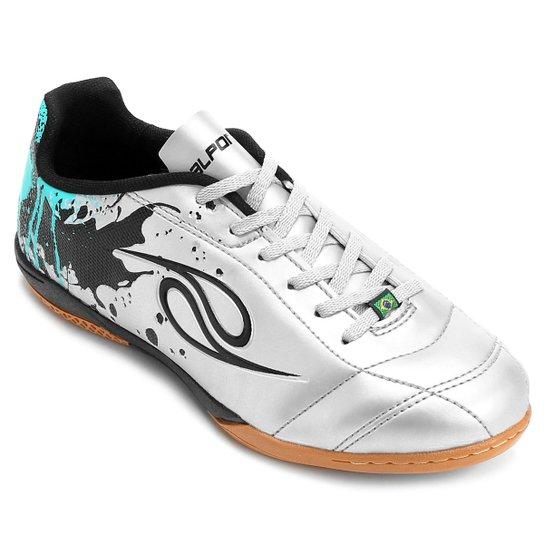 a799bd66b3 Chuteira Futsal Dalponte Contact Masculina - Prata e Verde - Compre ...