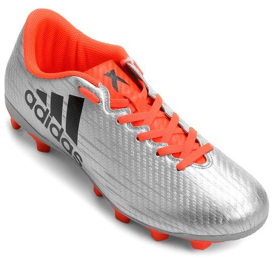 2eb9b266927ef Chuteira Adidas X 16.4 FXG Campo - Prata+Laranja