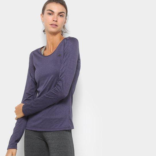 ff339c5ad7f Camiseta Adidas Manga Longa 3S Ls Feminina - Roxo e Preto - Compre ...