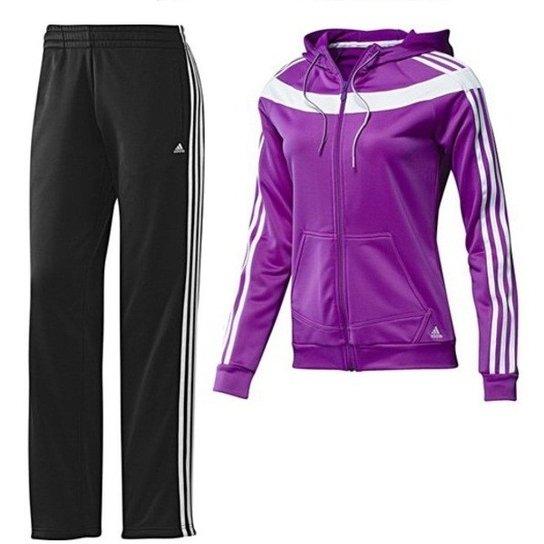 cb364ad661 ... b3c4a3a06d9 Agasalho Adidas Young Knit Com Capuz Feminino Roxo E Preto  Jácotei ...