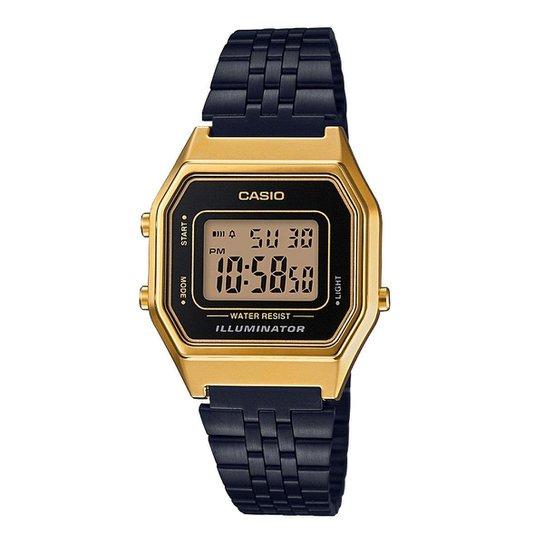 70ee00a49fc2 Relógio Casio Vintage Digital LA680WEGB Feminino - Dourado e Preto ...