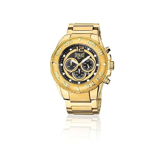 796449f6f4b Relógio Everlast Cronógrafo Cx e Pulseira Aço Masculino - Dourado e ...